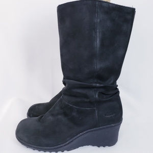 Keen Akita Black Pull On Slouch Wedge Boot Sz 8